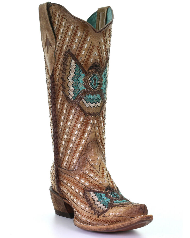 Corral Women's Sand Lamb Embroidery Western Boots - Snip Toe, Tan, hi-res