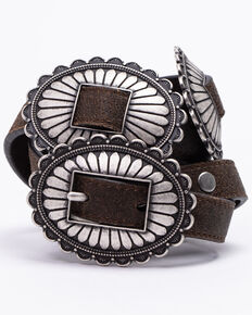 Idyllwind Women's Seeing Doubles Multi Concho Belt, Dark Brown, hi-res