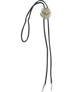 Cody James Men's Steer Head Bolo Tie, Silver, hi-res