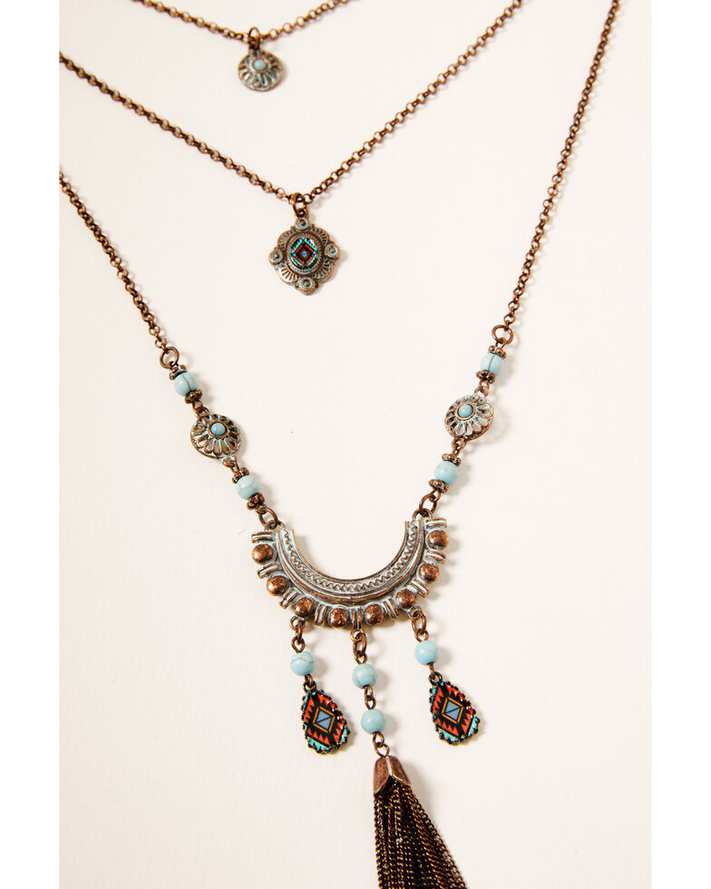 Shyanne Women's Crescent Bronze Layered Necklace, Rust Copper, hi-res