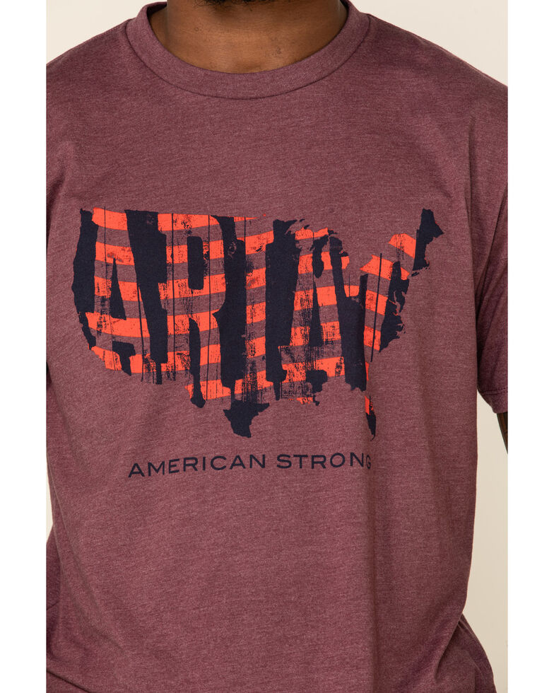 Ariat Men's Burgundy Heather Boot Graphic Short Sleeve T-Shirt , Burgundy, hi-res