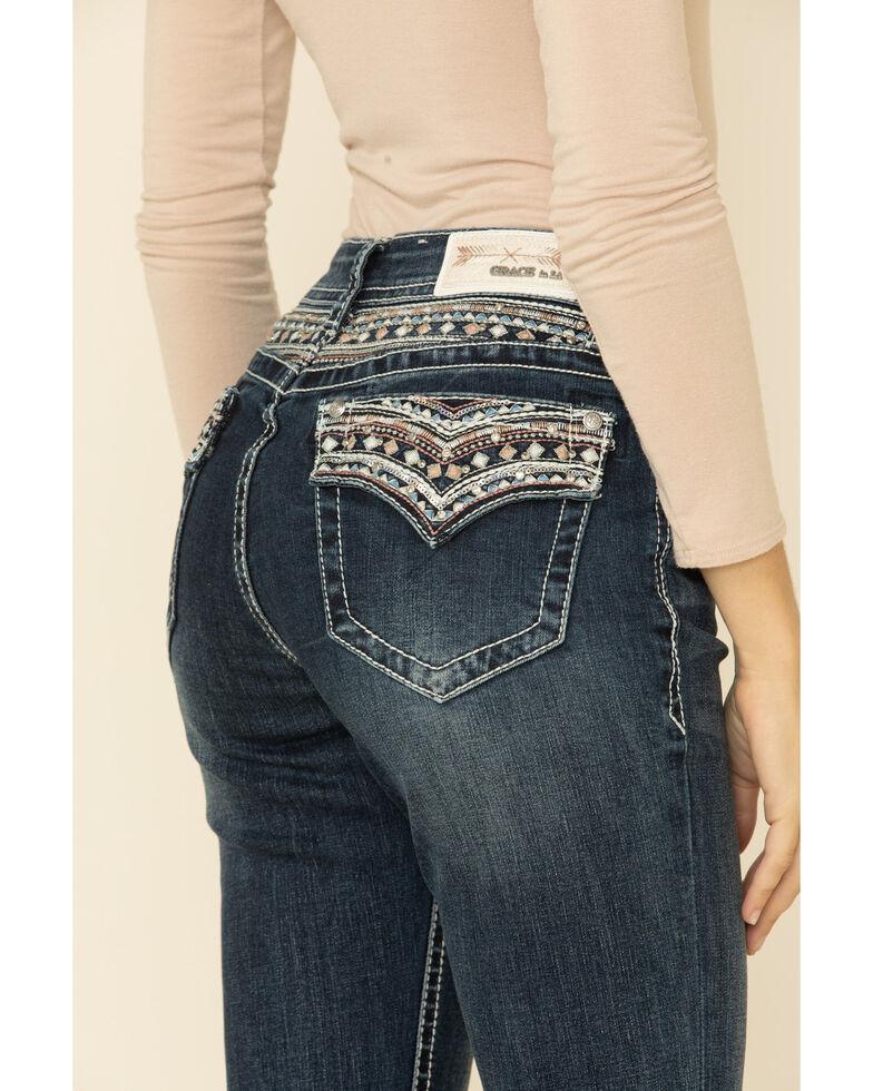 Grace in LA Women's Yoke Embroidery Bootcut Jeans, Blue, hi-res