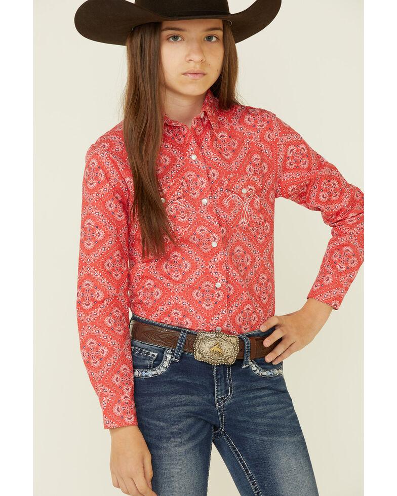 Panhandle Girls' Red Bandana Print Long Sleeve Snap Western Shirt , Red, hi-res