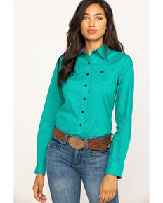 Cinch Women's Jade Micro Dot Button Western Core Long Sleeve Shirt, Jade, hi-res
