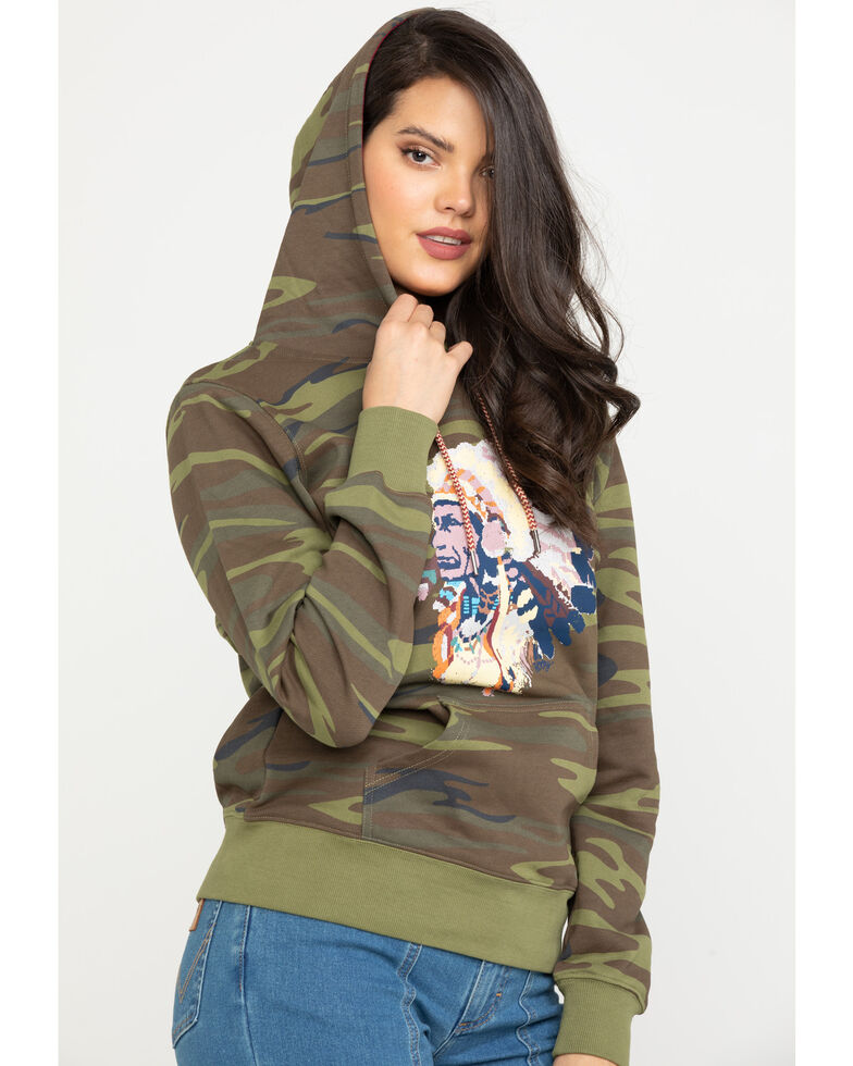 HOOey Women's Camo Chief Graphic Hoodie, Camouflage, hi-res