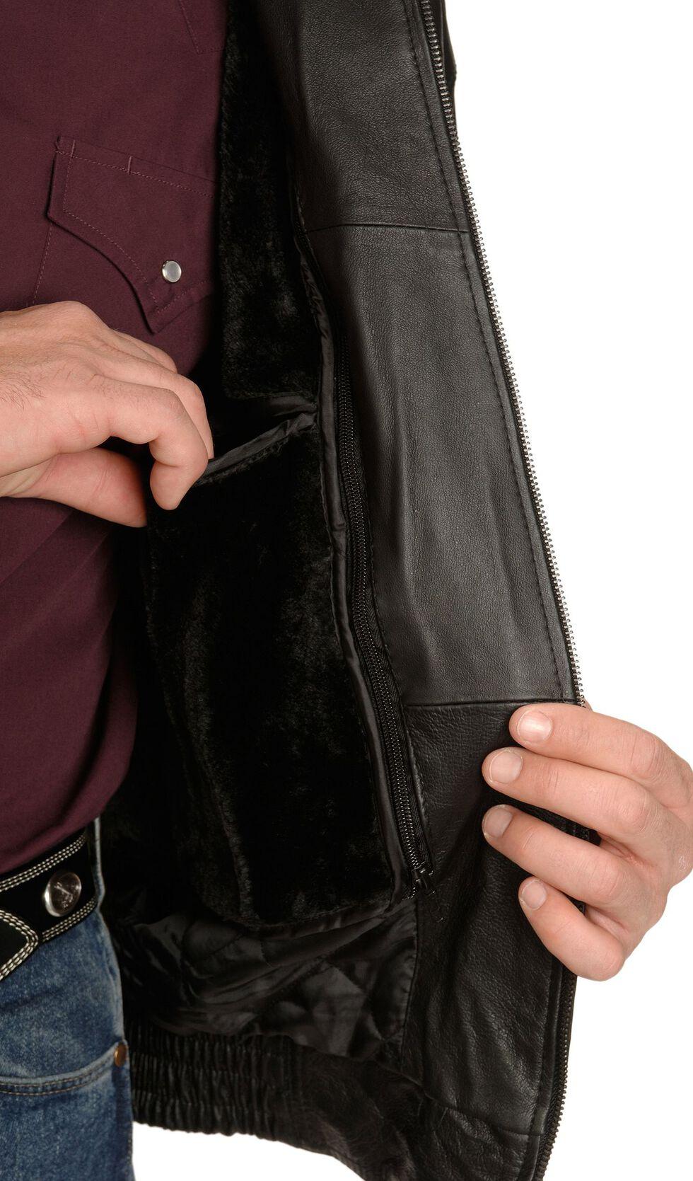 Vintage Leather Black Leather Bomber Jacket, Black, hi-res