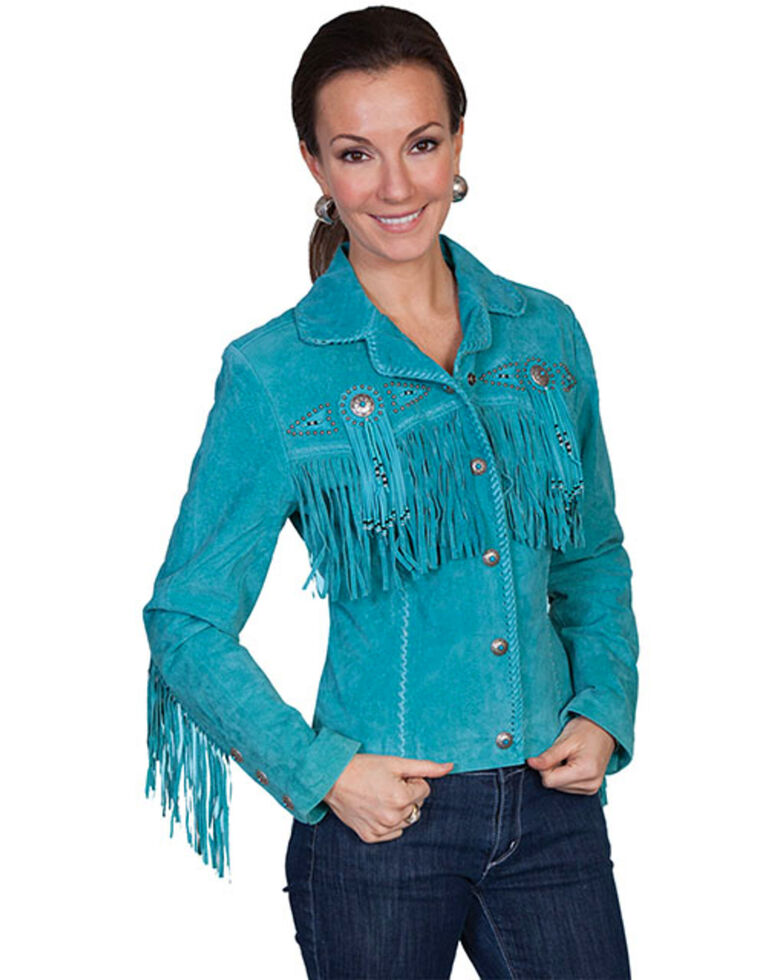 Scully Women's Suede Leather Fringe Jacket - Plus, Turquoise, hi-res