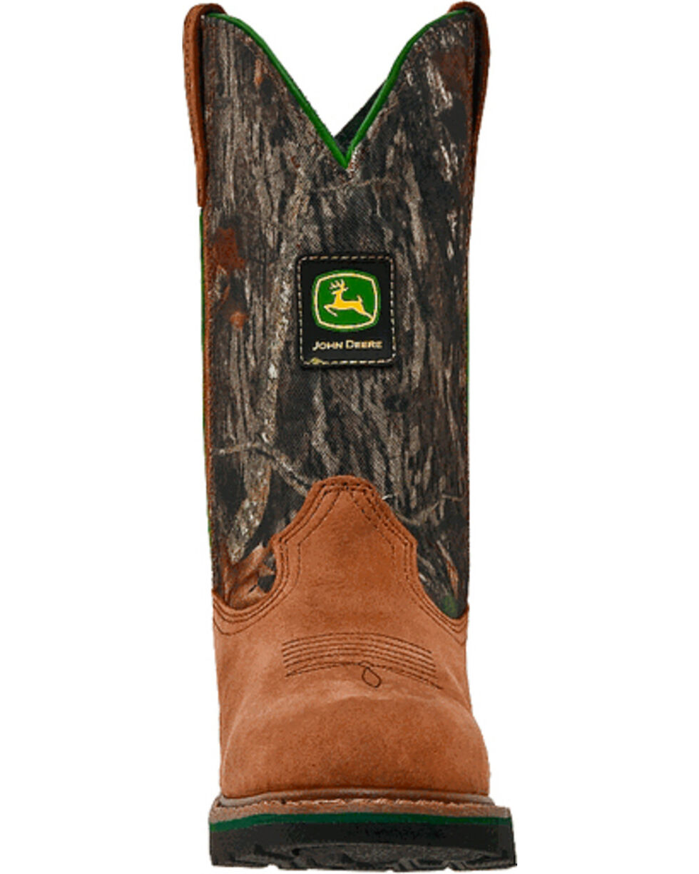 John Deere Women's Camo Leather Cowgirl Boots - Round Toe, Tan, hi-res
