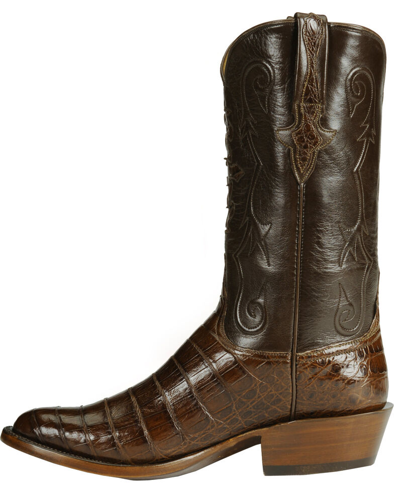 Lucchese Handmade Classics Diego Inlay Ultra Caiman Belly Boots, Sienna, hi-res