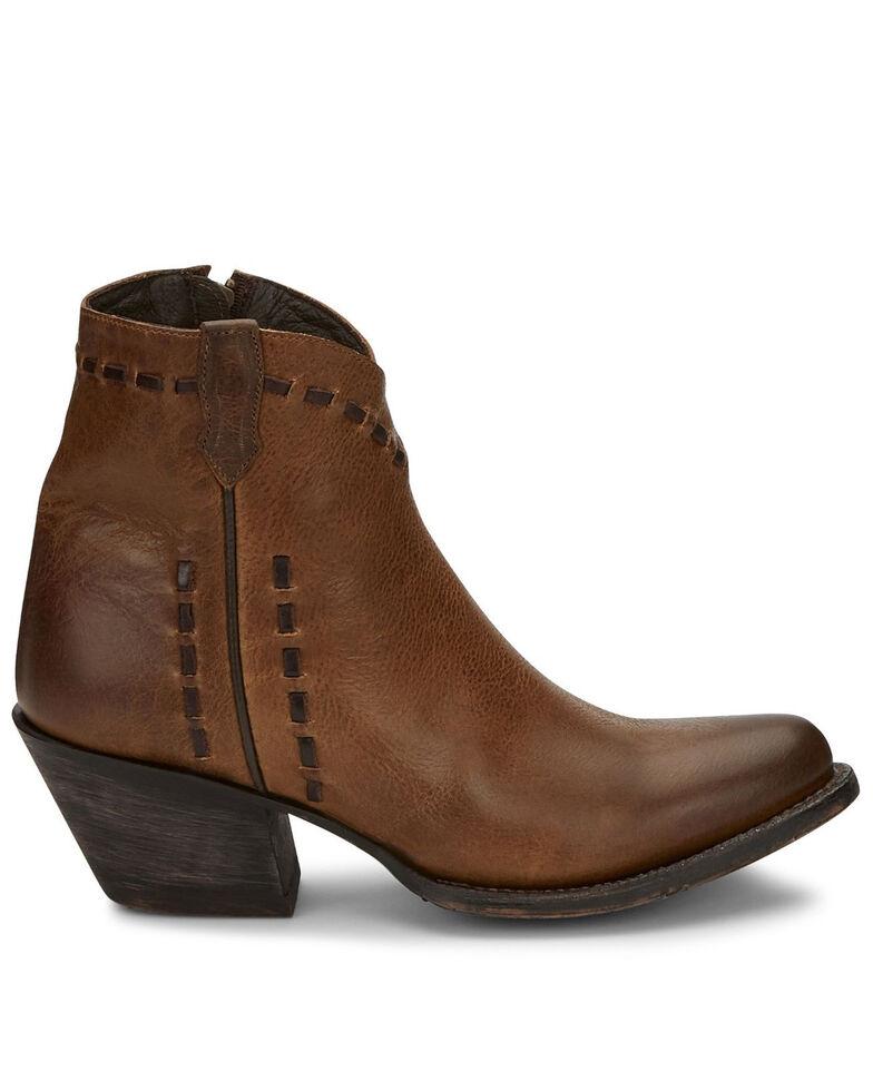 Tony Lama Women's Anahi Buckstitch Fashion Booties - Round Toe, Brown, hi-res