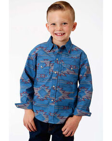 Roper Boys' West Made Sandstorm Aztec Print Long Sleeve Western Shirt , Blue, hi-res