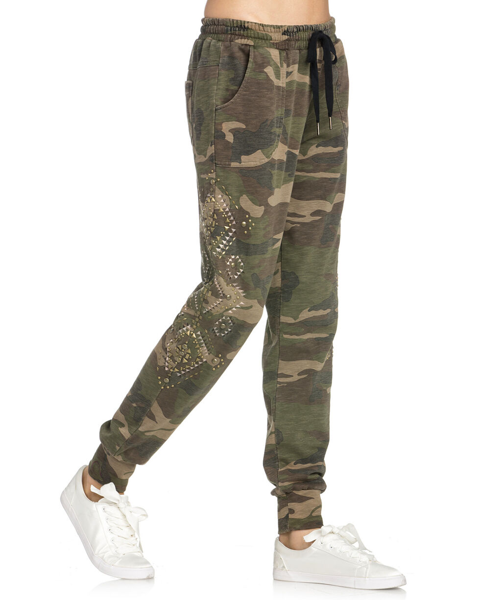 Miss Me Women's Camo Studded Lounge Pants , Camouflage, hi-res