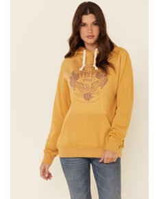 Cowgirl Tuff Women's Mustard Born Free Graphic Hooded Sweatshirt , Mustard, hi-res