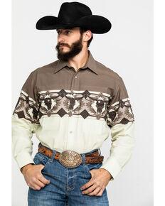 Panhandle Men's Brown Bull Border Print Long Sleeve Western Shirt , Brown, hi-res
