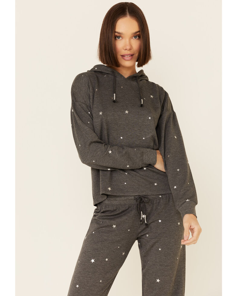 PJ Salvage Women's Charcoal Star Print Pullover Hoodie , Charcoal, hi-res