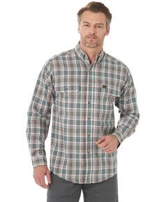 Wrangler Riggs Men's Olive Foreman Plaid Long Sleeve Button-Down Work Shirt , Olive, hi-res