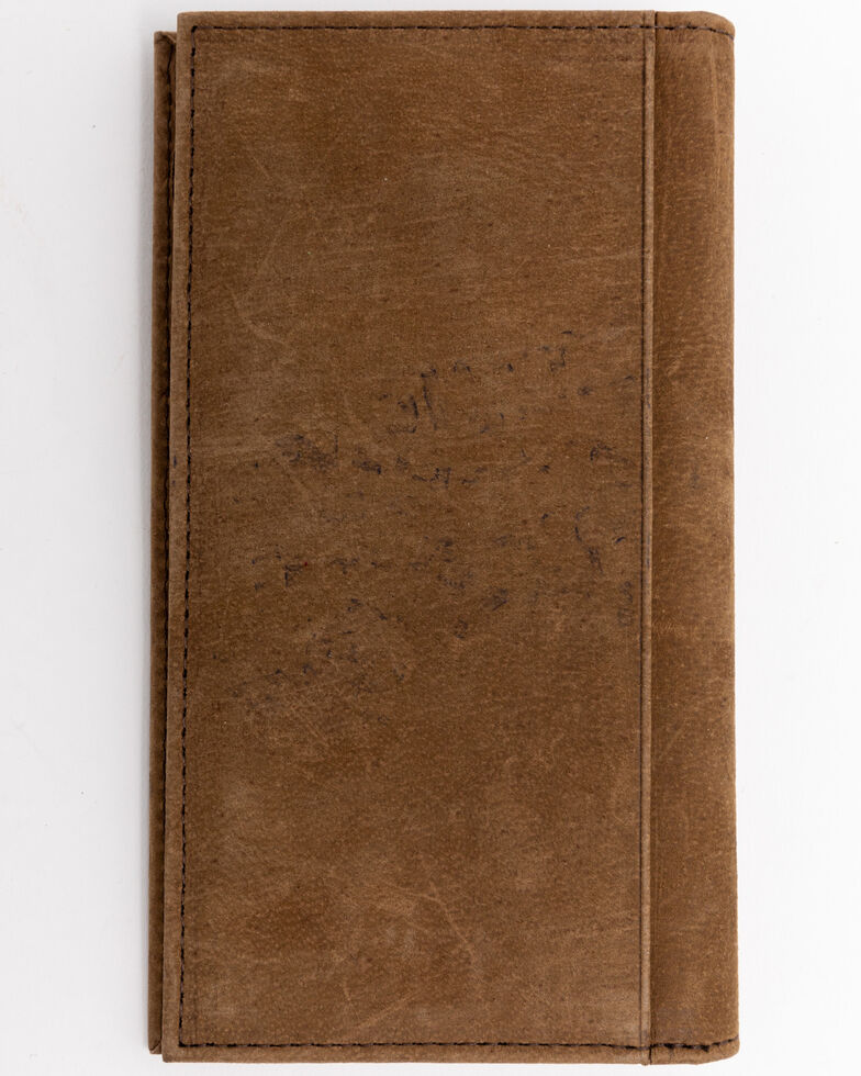 Cody James Men's Croc Embossed Leather Checkbook Wallet , Brown, hi-res
