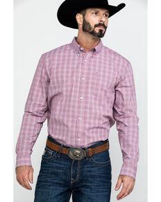 Cody James Core Men's Picnic Small Plaid Long Sleeve Western Shirt - Big , Red, hi-res