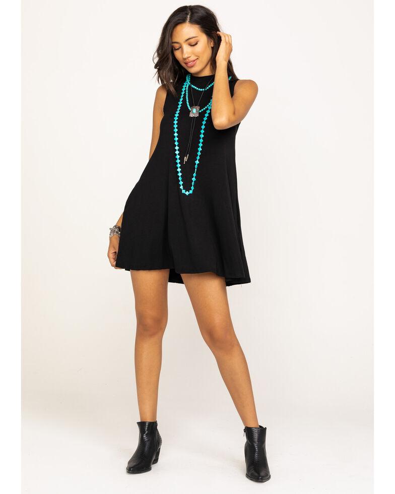 Elan Women's Solid Swing Dress, Black, hi-res
