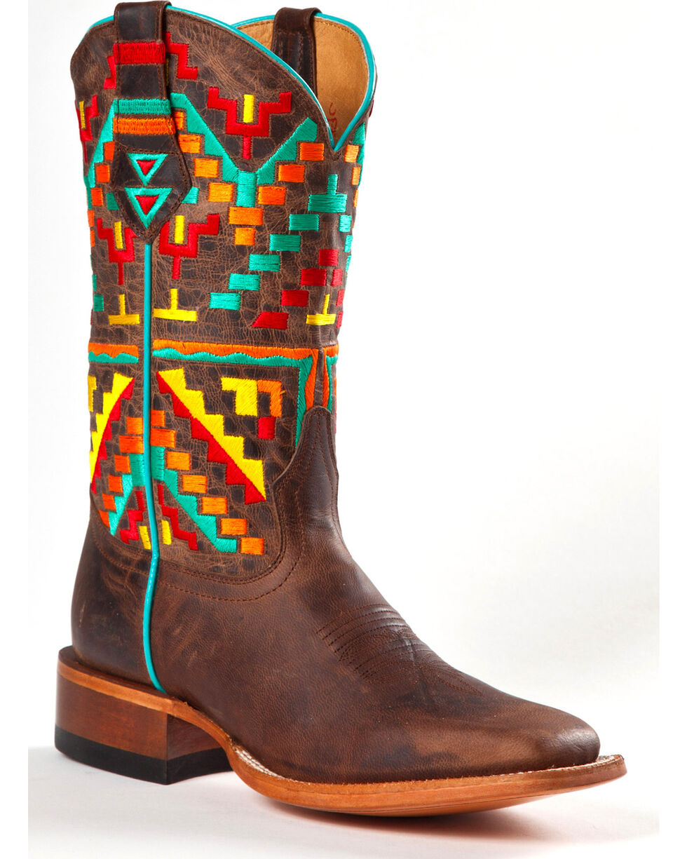 Johnny Ringo Women's Aztec Kaleidoscope Western Boots - Square Toe, Distressed, hi-res