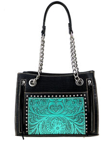Montana West Women's Black Stud Tooled Satchel , Black, hi-res