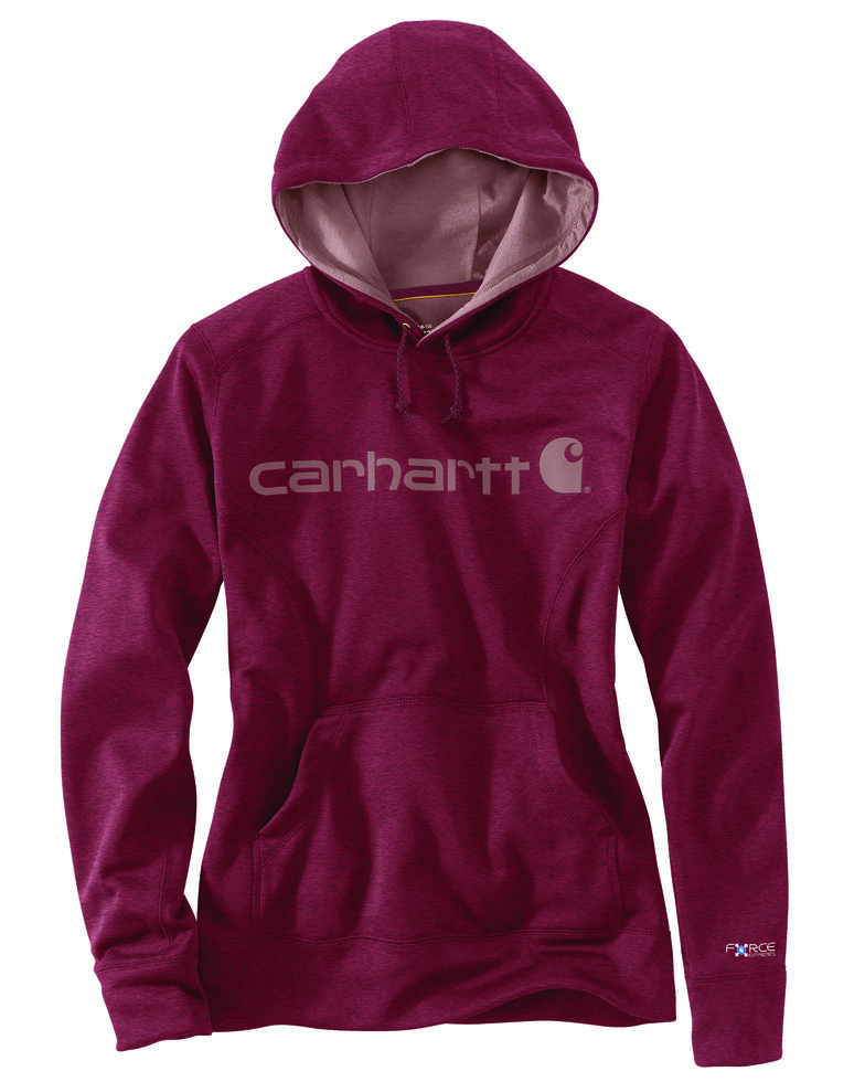 Carhartt Extremes® Women's Force Signature Graphic Hooded Sweatshirt, Black Cherry, hi-res