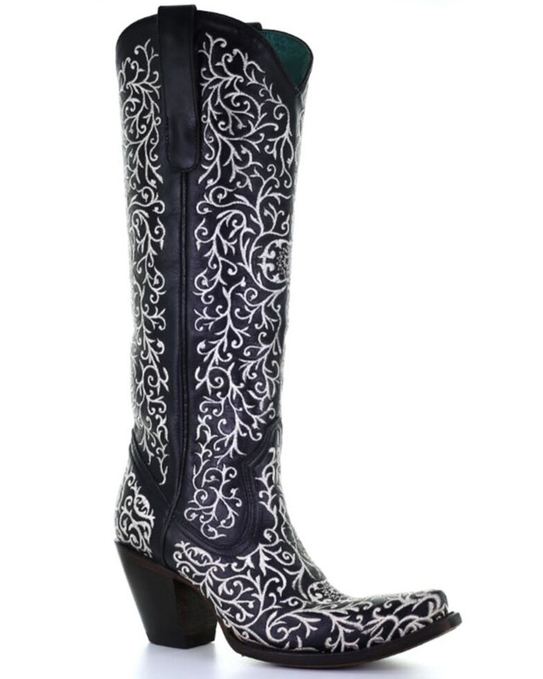 Corral Women's Black Embroidery Zipper Western Boots - Snip Toe, Black, hi-res