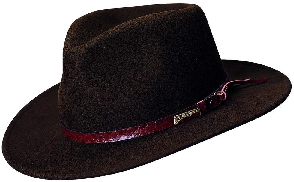 Indiana Jones Brown Leather Trim Wool Felt Fedora Hat, Brown, hi-res