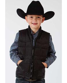 Roper Boys' Black Rangewear Quilted Down Vest , Black, hi-res