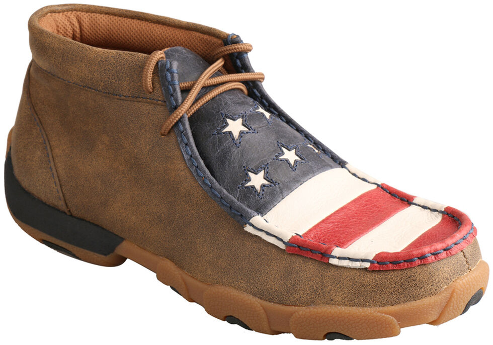 Twisted X Women's VFW American Flag Driving Mocs, Bomber, hi-res