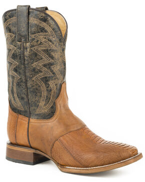 Roper Men's Tan Deadwood Ostrich Leg Boots - Square Toe , Tan, hi-res
