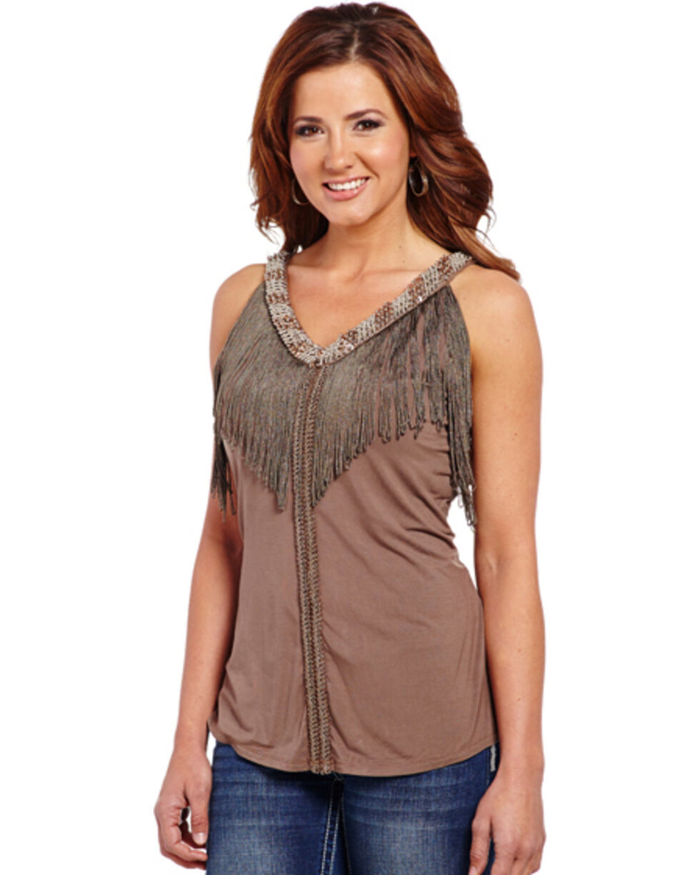 Cowgirl Up Women's Beaded Tank Top with Fringe Trim, Brown, hi-res