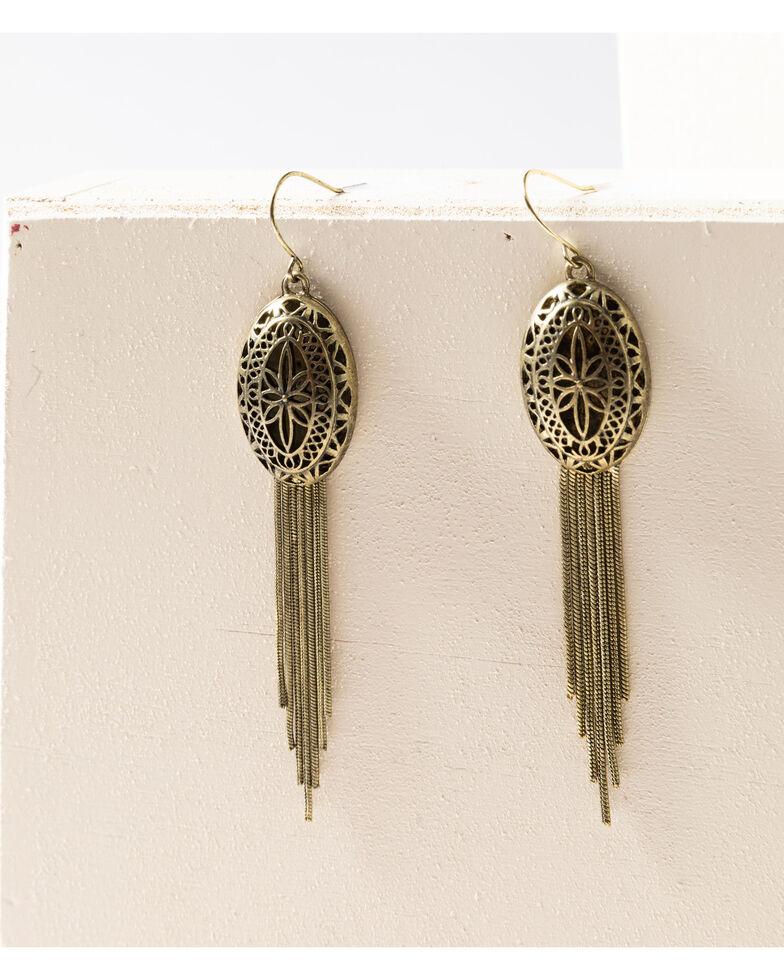 Shyanne Women's Gilded Gold Oval Filagree Tassel Earrings, Gold, hi-res