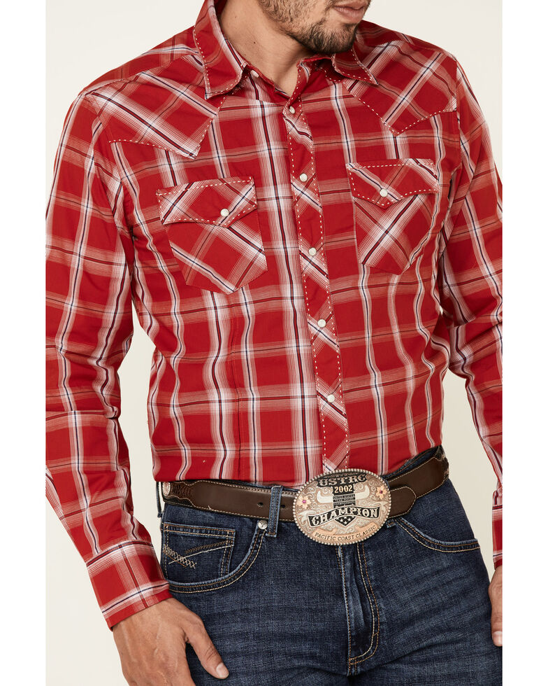 Wrangler Men's Red Large Plaid Fashion Snap Long Sleeve Western Shirt , Red, hi-res