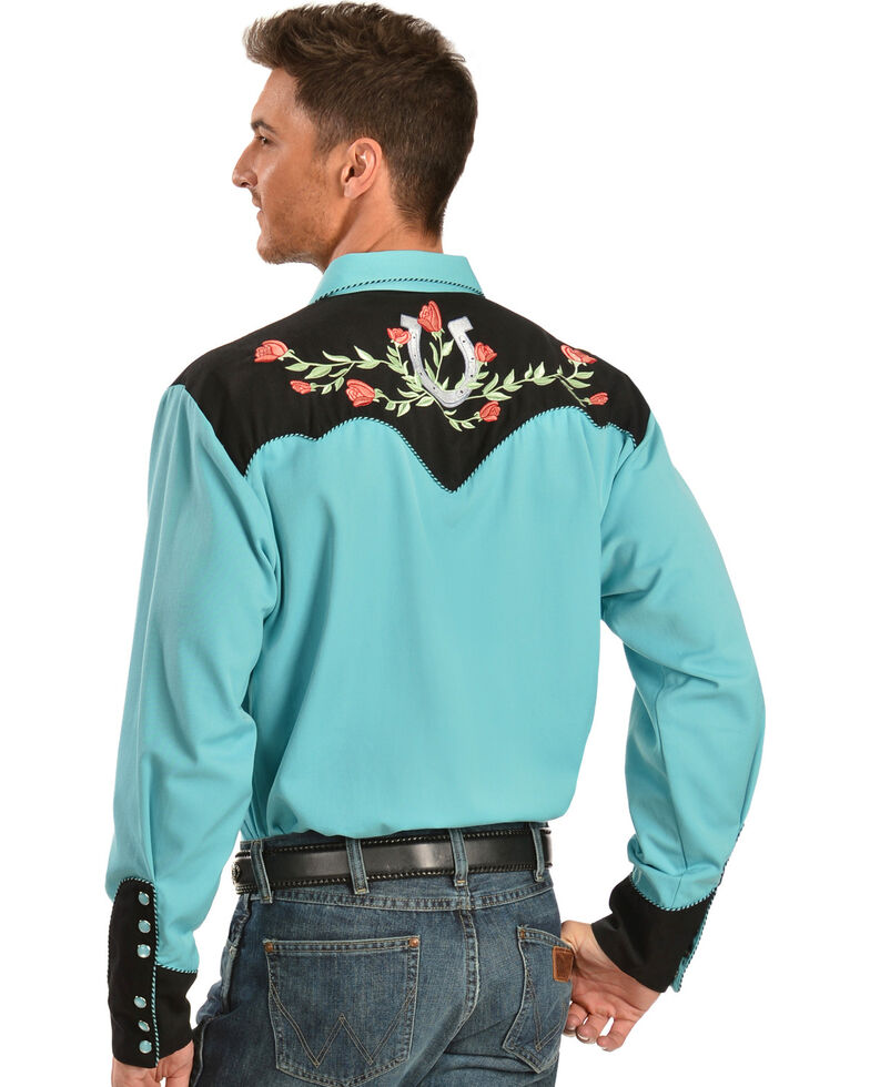 Scully Rose & Horseshoe Embroidered Retro Western Shirt, Turquoise, hi-res