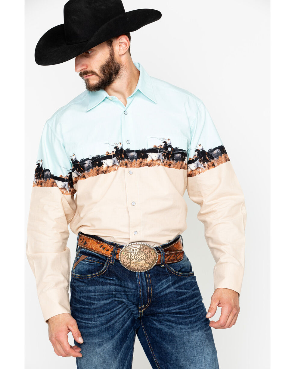 Panhandle Men's Scenic Border Print Long Sleeve Western Shirt , Aqua, hi-res