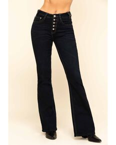 Rock & Roll Cowgirl Women's Dark High Rise Button Trousers, Blue, hi-res