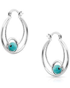 Montana Silversmiths Women's Tangled Turquoise Hoop Earrings, Silver, hi-res