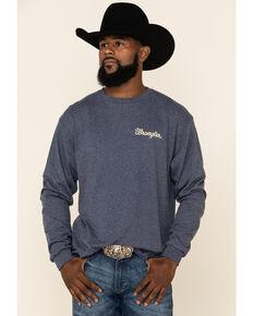 Wrangler Men's Heathered Denim Graphic Long Sleeve T-Shirt , Blue, hi-res