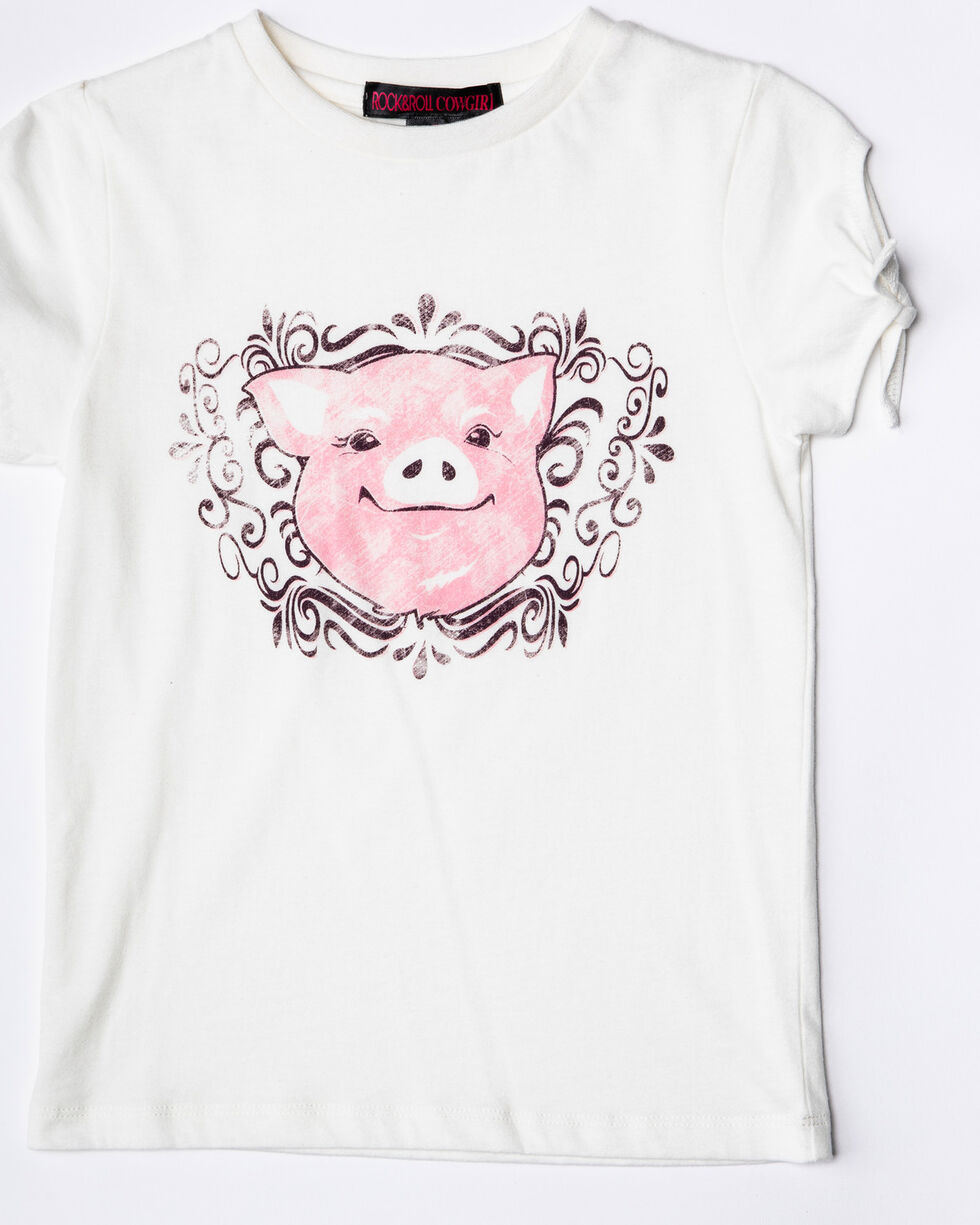 Rock & Roll Cowgirl Girls' Pig Graphic Tie Sleeve Top , Ivory, hi-res