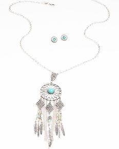 Shyanne Women's Hidden Treasure Dream Catcher Turquoise Stone Necklace Set, Silver, hi-res