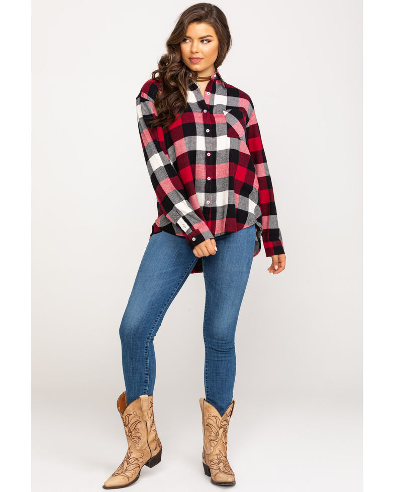 Wrangler Women's Red & Black Buffalo Plaid Flannel, Red, hi-res