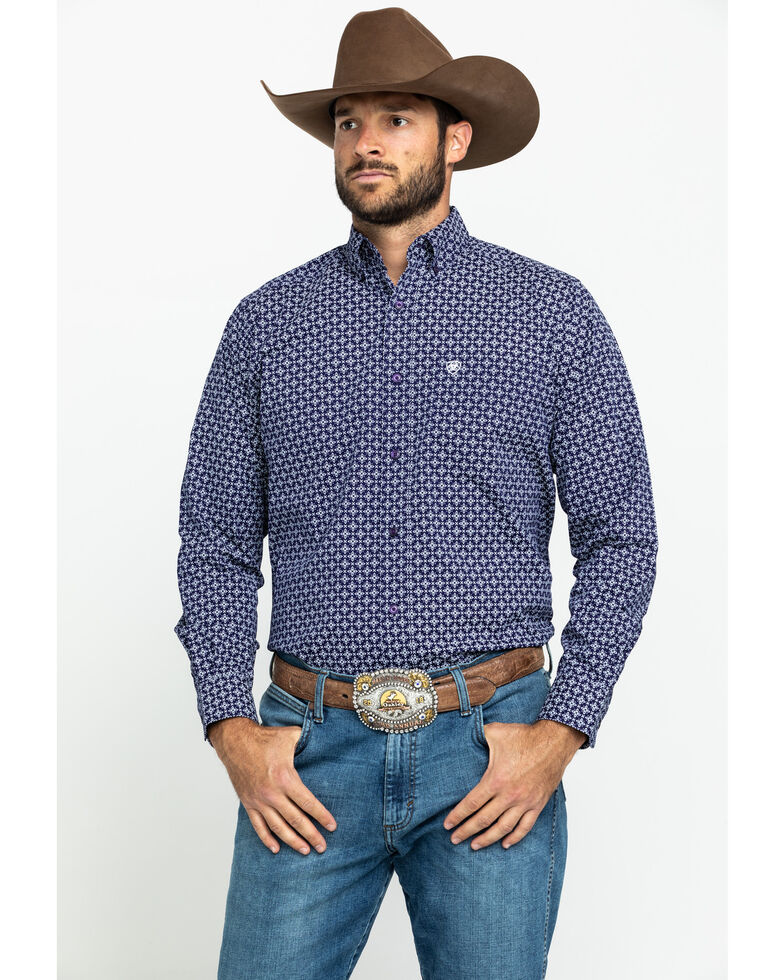 Ariat Men's Speakman Stretch Geo Print Fitted Long Sleeve Western Shirt , Purple, hi-res