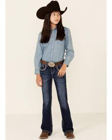 Shyanne Girls' Medium Wash Americana Pocket Embellished Bootcut Jeans - Little, Blue, hi-res