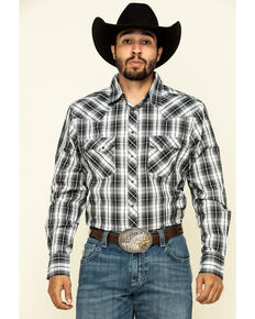 Wrangler Men's Fashion Snap Black Med Plaid Long Sleeve Western Shirt , Black, hi-res