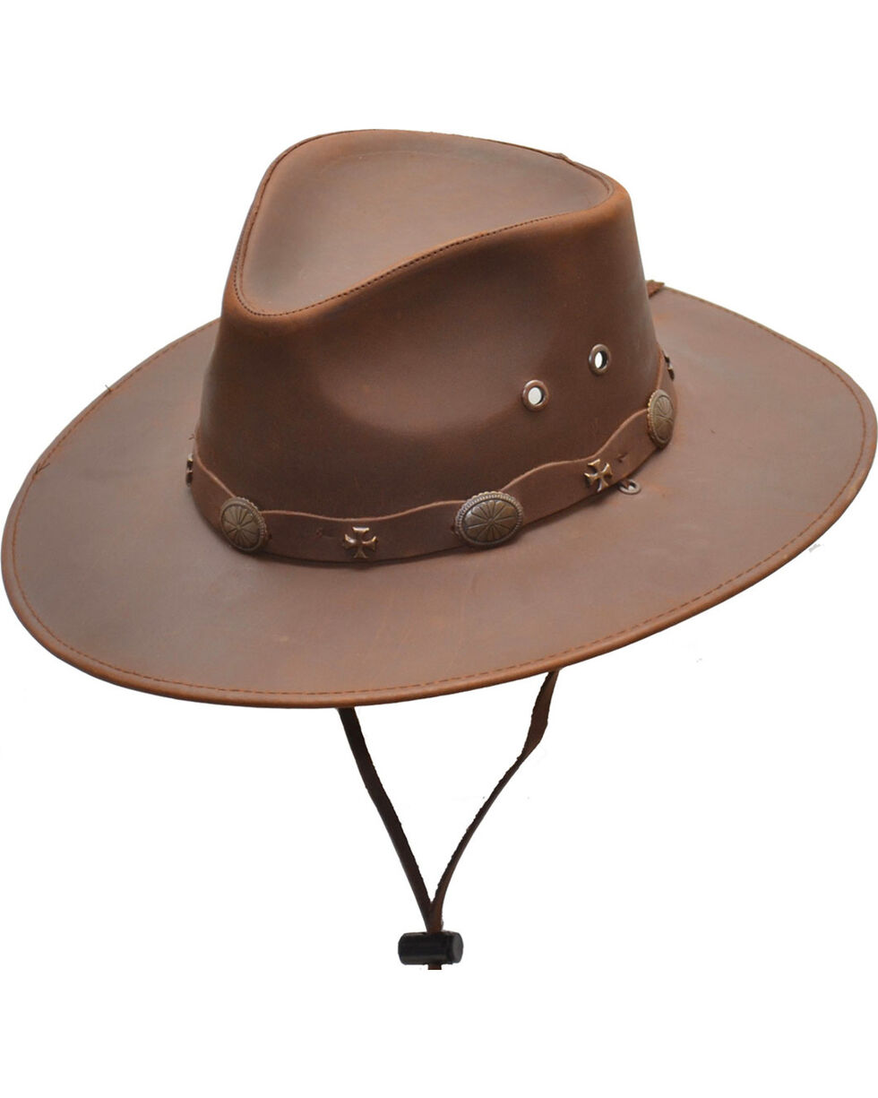 Western Express Men's Brown Leather Hat , Brown, hi-res