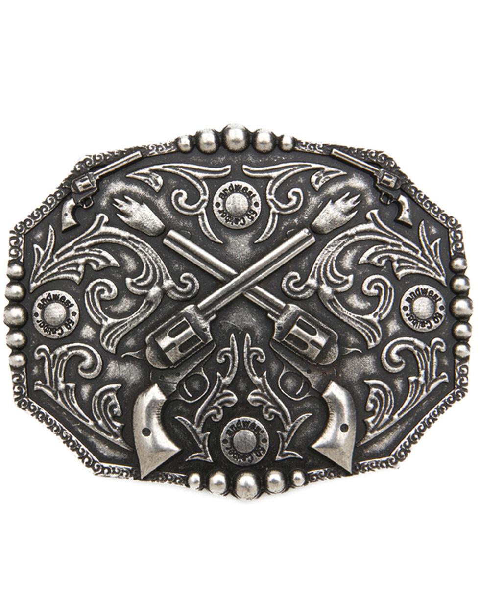 AndWest Bronze Dueling Pistols Belt Buckle, Silver, hi-res