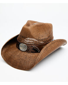 Shyanne Women's Brown Shane Raffia Straw Western Hat , Brown, hi-res