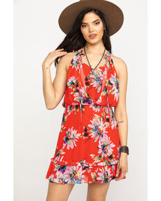 Miss Me Women's Red Floral Halter Keyhole Dress, Red, hi-res