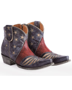 Old Gringo Women's Blue United Patriotic Booties - Snip Toe , Blue, hi-res
